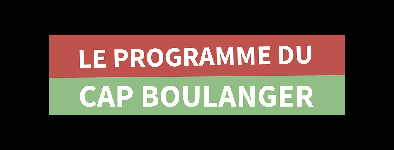 Le programme du CAP Boulanger